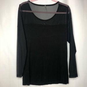 Tops - Black sheer sleeve plus size top